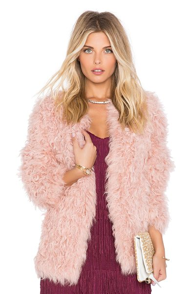EAVES Jeni lamb fur jacket in pink - 100% dyed Mongolian lamb fur. Fur Origin: US....