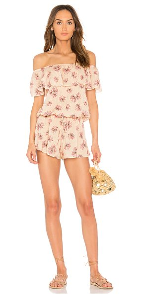 Eberjey Fly Lotus Tula Romper in silver pink safari - 100% viscose. Hand wash cold. Elasticized neckline....