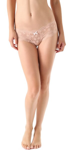 Eberjey India lace low rise boy thong in buff - This sheer stretch lace thong features a contrast ribbon...