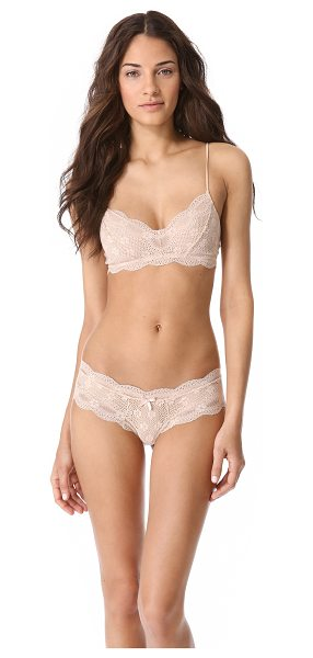 Eberjey india lace retro bralette in bare - This semi-sheer stretch-lace bralette features scalloped...