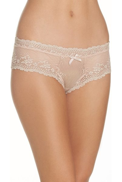 Eberjey 'india' lace thong in bare - A cheeky, low-rise thong crafted from scalloped floral...