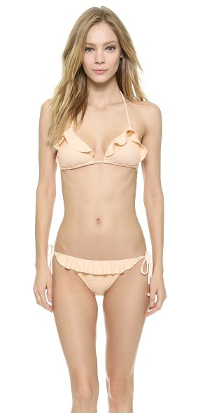 Eberjey So solid waverly bikini top in shell - Ruffled edges lend a charming finish to this Eberjey...