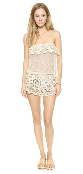 Eberjey Sun warrior nina cover up romper in natural - Crocheted lace brings delicate beauty to this Eberjey...