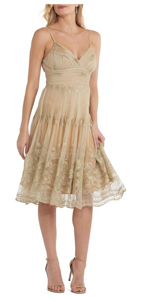 ECI pleat bodice mesh dress in gold - Tiny pleats at the surplice bodice and waist cascade to...
