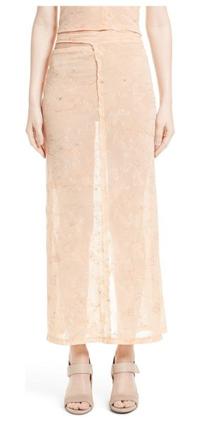 ECKHAUS LATTA embroidered midi skirt in peach - Designers Mike Eckhaus and Zoe Latta took a...