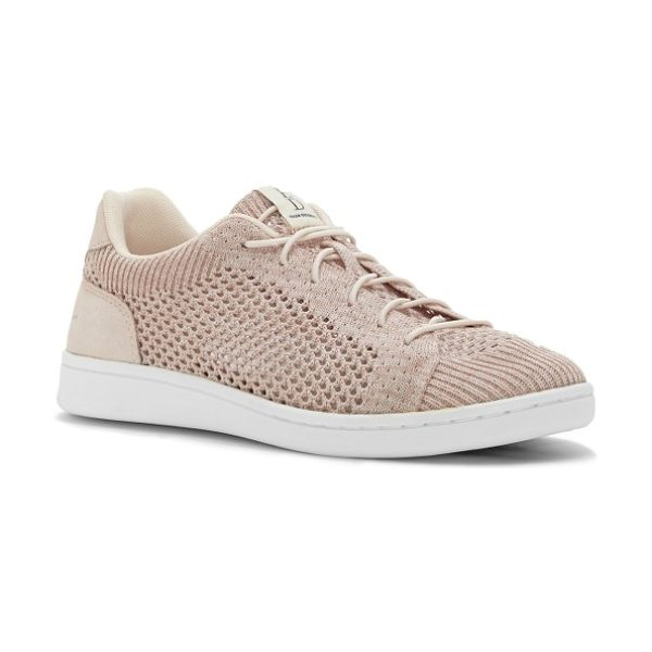 ED Ellen DeGeneres casie knit sneaker in pink champagne fabric - Smooth leather trims a sporty, breathable mesh-knit...