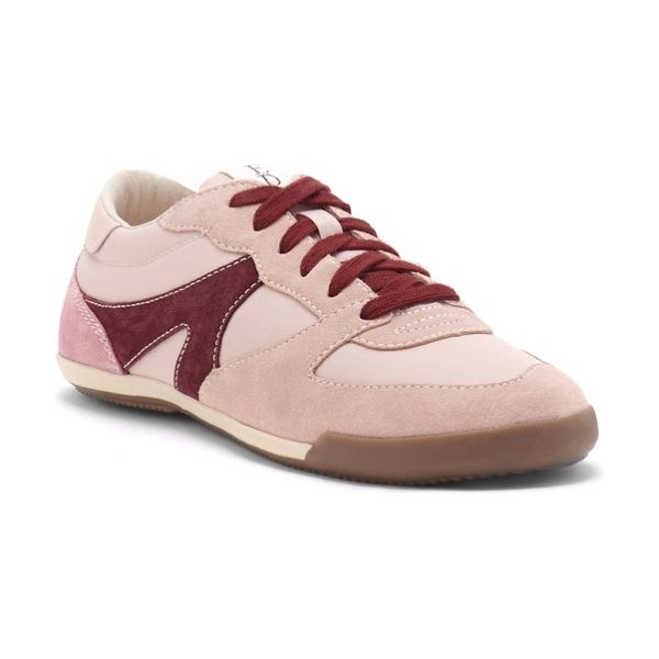 ED Ellen DeGeneres ellert sneaker in peony pink suede - A signature 'love' inscription details the sole of a...