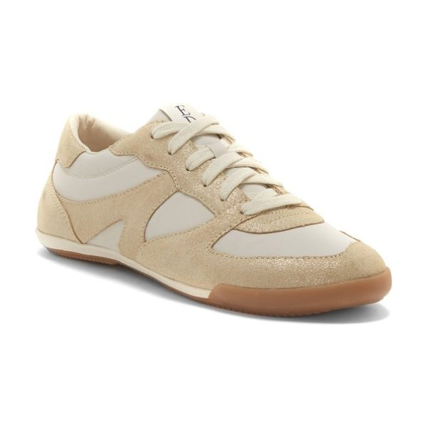 ED Ellen DeGeneres ellert sneaker in gold suede - A signature 'love' inscription details the sole of a...