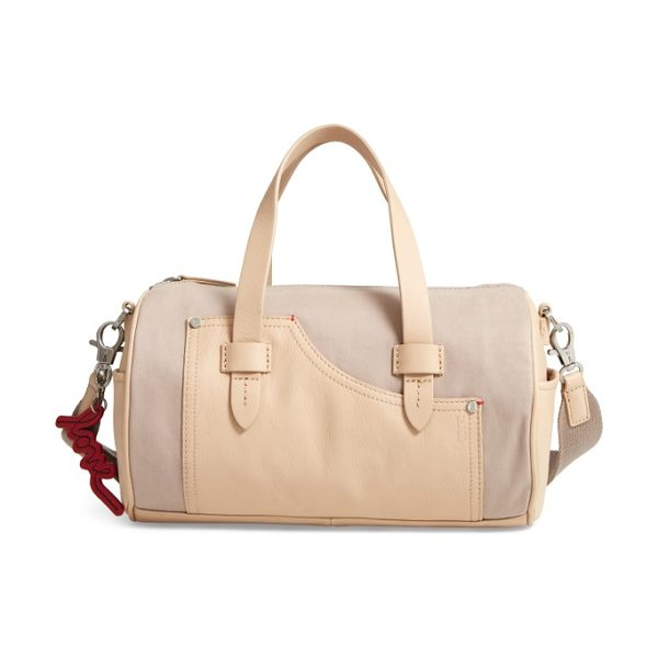 ED ELLEN DEGENERES mini carml leather & canvas barrel bag in fossil/ bisque - A barrel bag done in a structured, cylindrical...