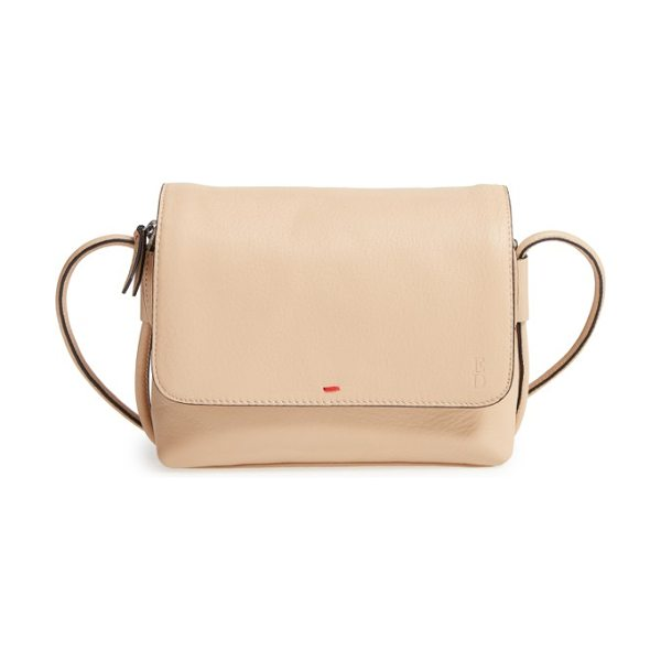 ED Ellen DeGeneres small monterey leather crossbody bag in bisque/ multi - The zip pull is embossed with one of ED's guiding...