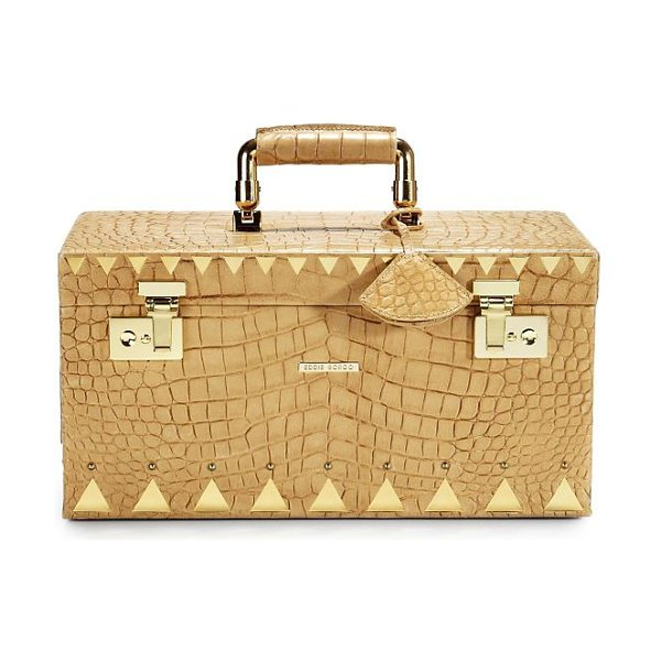 Eddie Borgo Crocodile-embossed leather jewelry box/goldtone in tobacco - The luxurious appearance of crocodile-embossed leather...