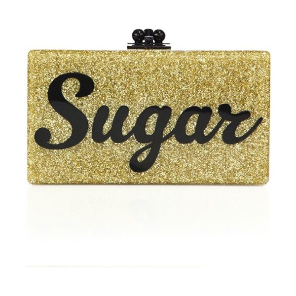 Edie Parker flavia sugar acrylic clutch in gold - EXCLUSIVELY AT SAKS FIFTH AVENUE. Shimmering metallic...