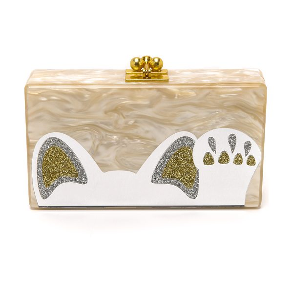 EDIE PARKER Jean beckoning cat clutch in nude - A sweet cat shaped graphic with a mirrored surface...