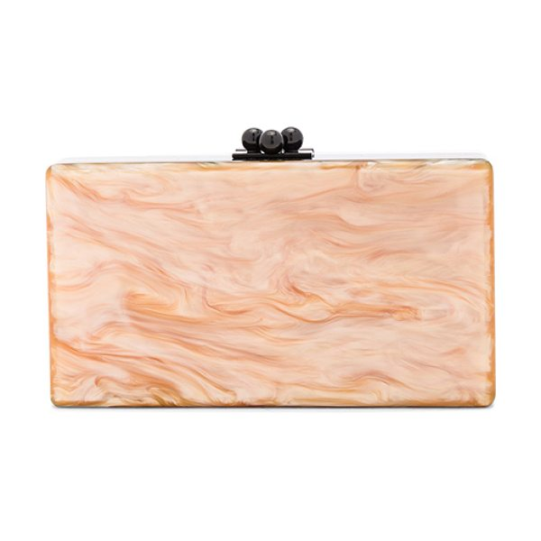 EDIE PARKER Jean Color Block Clutch in orange - 100% hand poured acrylic hinged clutch with black-tone...
