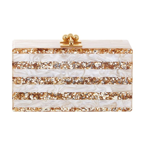 Edie Parker Jean Confetti-Striped Box Clutch Bag in nude/sand - Edie Parker acrylic clutch bag with metallic confetti...