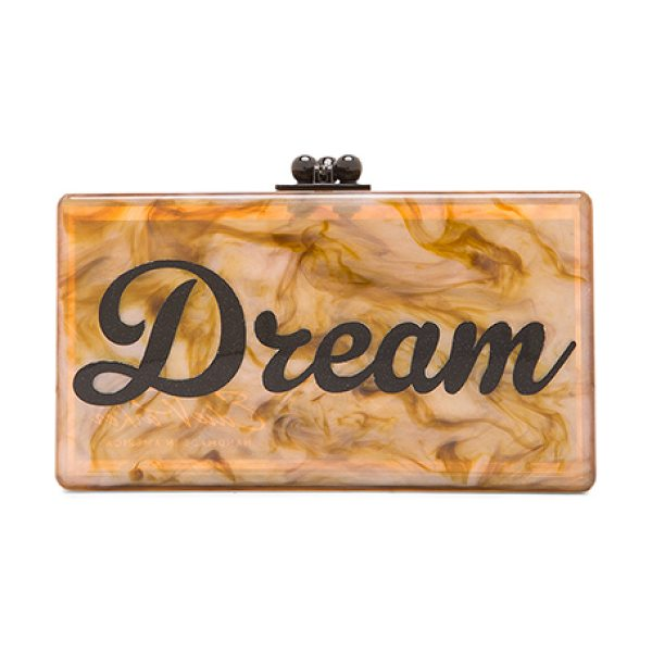 Edie Parker Jean dream clutch in neutrals,orange - 100% hand poured acrylic hinged clutch with gold-tone...