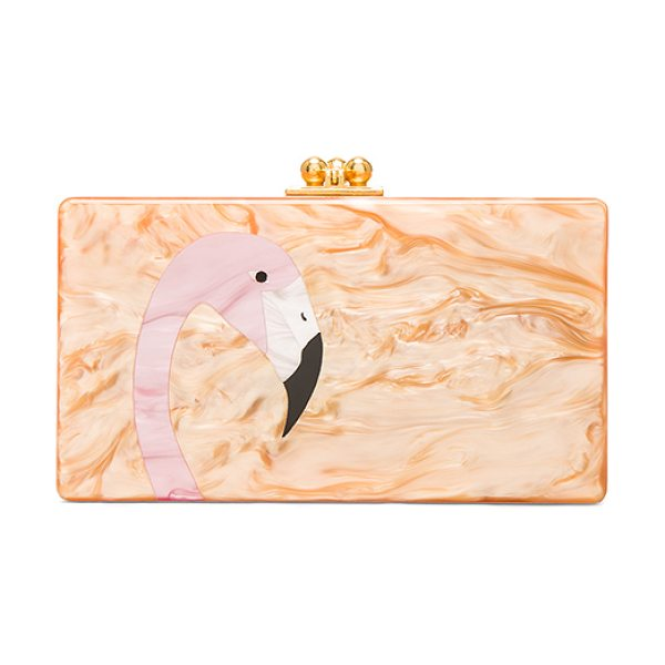 EDIE PARKER Jean Flamingo Clutch in caramel - 100% hand poured acrylic hinged clutch with gold-tone...