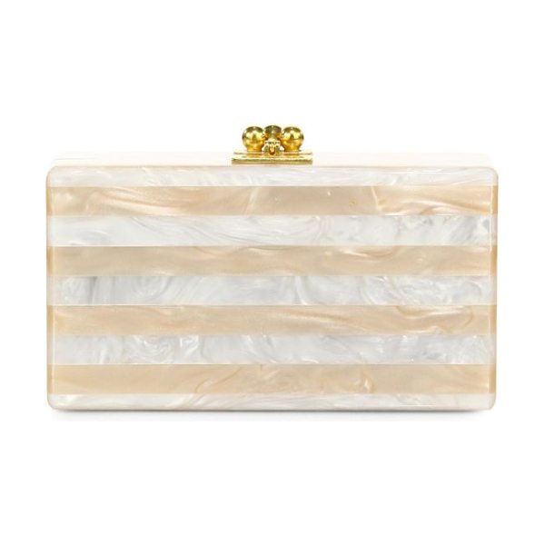 EDIE PARKER Jean glittered & striped acrylic clutch - A sleek silhouette crafted of smooth, hand-poured...