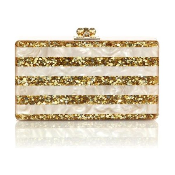Edie Parker jean glittered & striped acrylic clutch in nude-white - A sleek silhouette crafted of smooth, hand-poured...