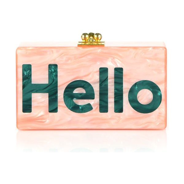 Edie Parker Jean hello acrylic clutch in pink-green - A charming style that speaks for itself, this Edie...