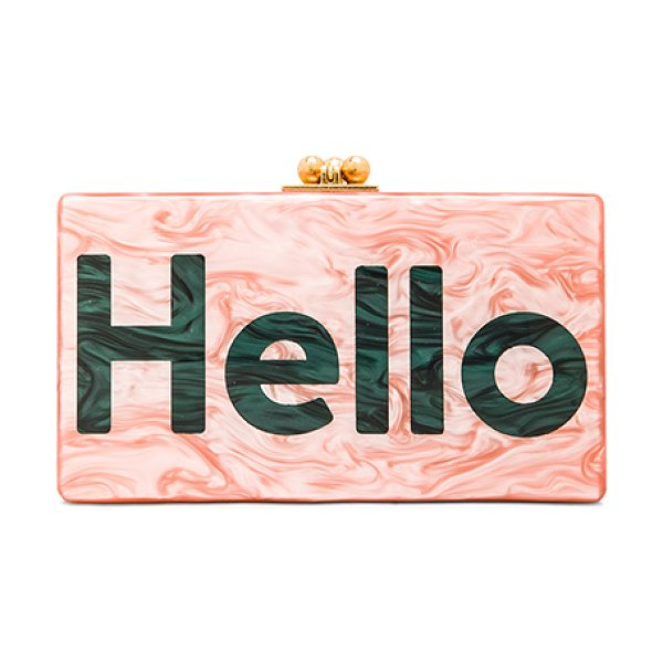 Edie Parker Jean hello clutch in pink - 100% hand poured acrylic hinged clutch with gold-tone...