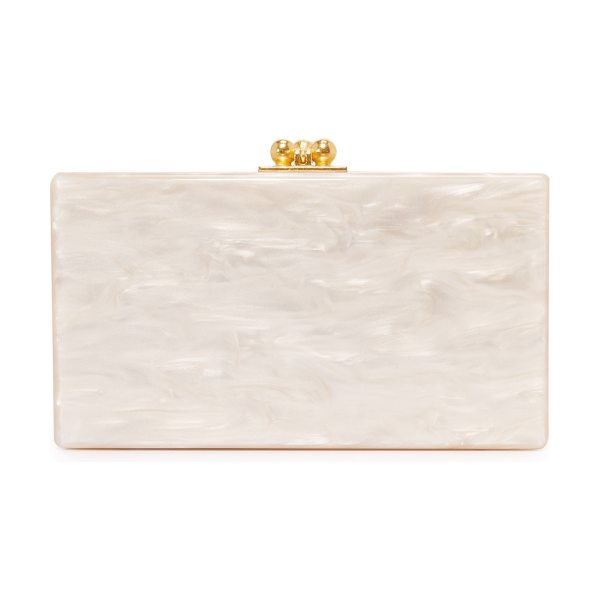 Edie Parker jean solid clutch in nude pearlescent - A petite Edie Parker clutch in shimmering, hand-poured...