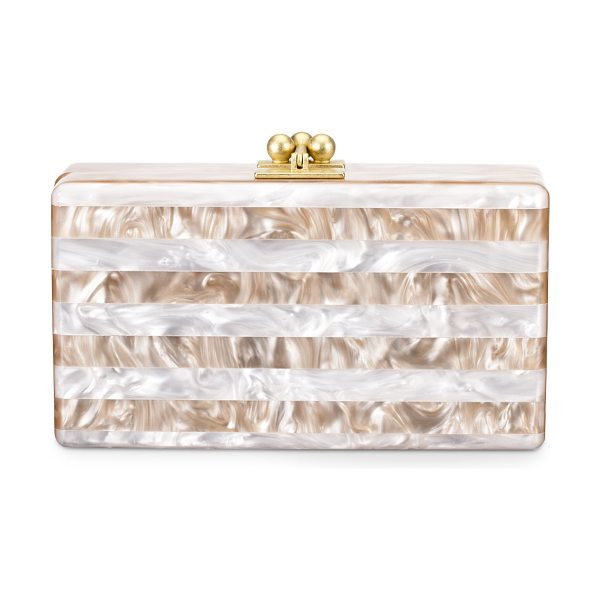 Edie Parker Jean Striped Box Clutch in nude/white - Marbleized, striped acrylic. Brushed golden kiss-lock...