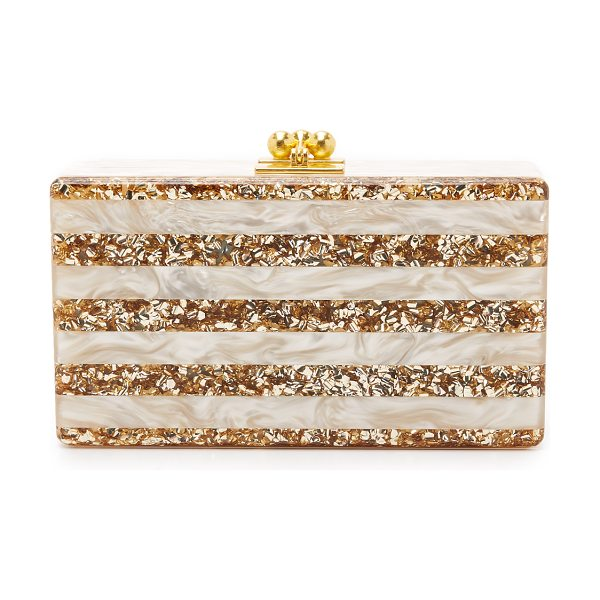 EDIE PARKER jean striped clutch in nude pearlescent/sand - A luxe Edie Parker hardshell clutch, crafted from...