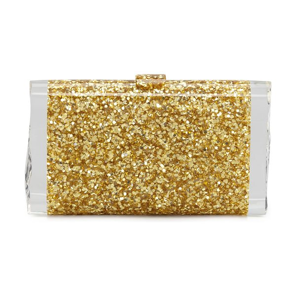 Edie Parker Lara Confetti Clutch Bag in gold - Golden confetti acrylic; signature clear ice ends on...
