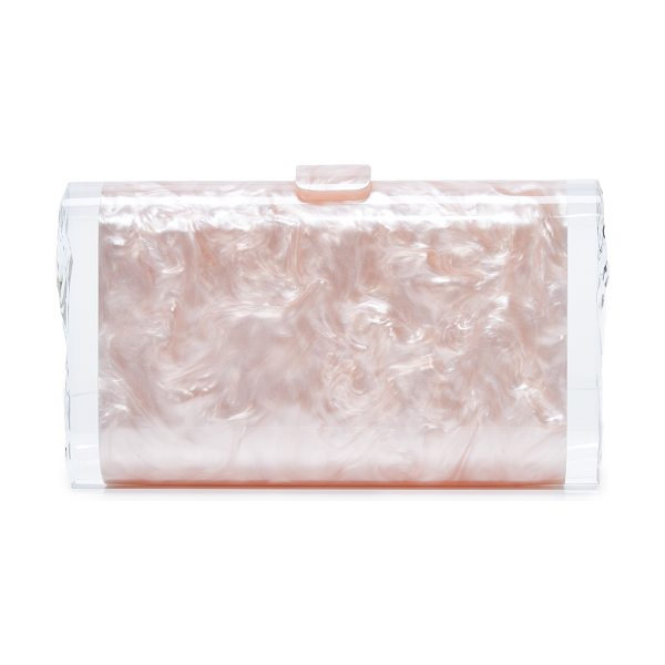 Edie Parker lara solid clutch in rose quartz - A swirling acrylic Edie Parker clutch with translucent,...