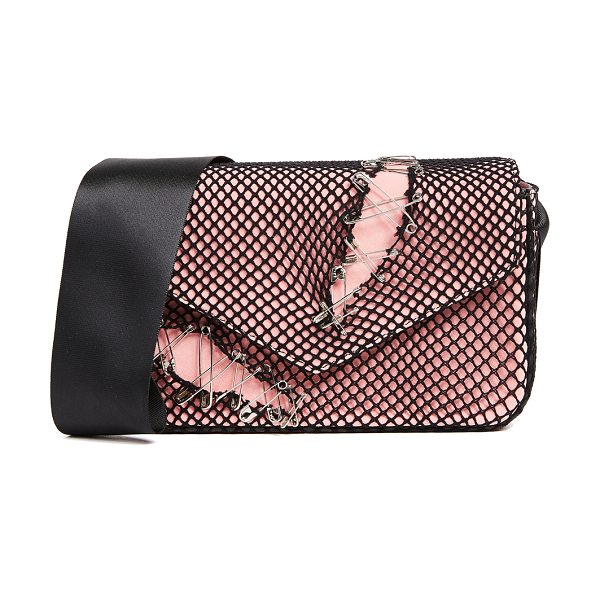 Edie Parker melissa pinned suede bag in pink - A soft suede Edie Parker bag covered with ripped fishnet...