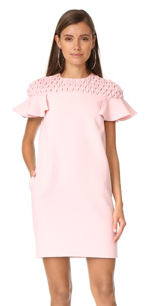 EDIT frill sleeve smock yoke mini dress - Exclusive to Shopbop. Patterned smocking lends dimension...