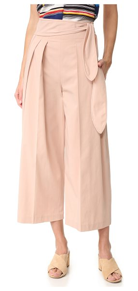 EDUN tie waist pants in shell - Pleating accentuates the wide-leg shape of these...