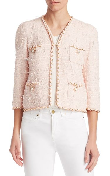 Edward Achour braid-trimmed tweed cropped jacket in pink rose - Cropped tweed jacket with an elegant embellished trim...