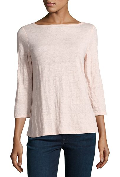 Eileen Fisher 3/4-Sleeve Organic Linen Jersey Top in shell - Eileen Fisher top in slub jersey, available in your...