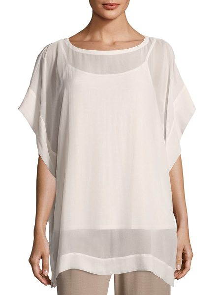 Eileen Fisher Bateau-Neck Sheer Silk Georgette Box Top in shell - Eileen Fisher sheer silk georgette box top, available in...