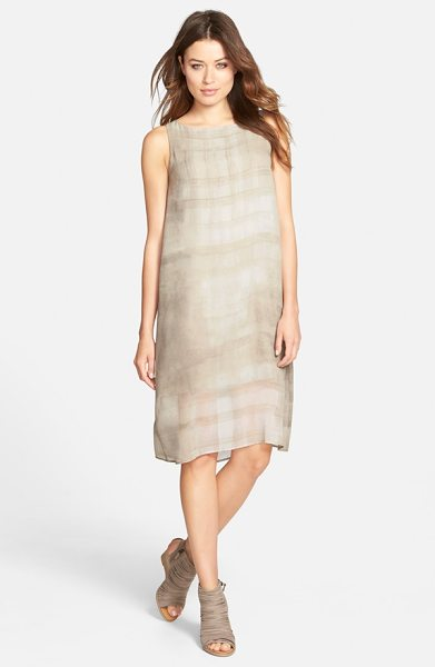 Eileen Fisher boatneck silk shift dress in cobblestone - Here's a great transition piece to take you through the...
