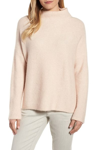 Eileen Fisher 'boucle bliss' cashmere & silk blend funnel neck sweater in dune - A blissfully soft cashmere blend brings snuggle-worthy...