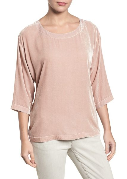 Eileen Fisher boxy velvet top in pearl - An elegantly simple and easy top is elevated for a busy...