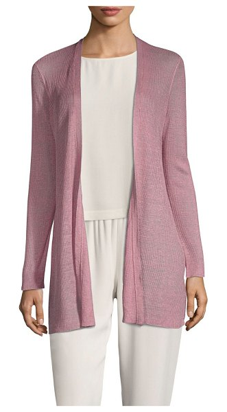 Eileen Fisher bracelet-sleeve long cardigan in rose quartz - Chic long cardigan perfect for layering. Collarless....