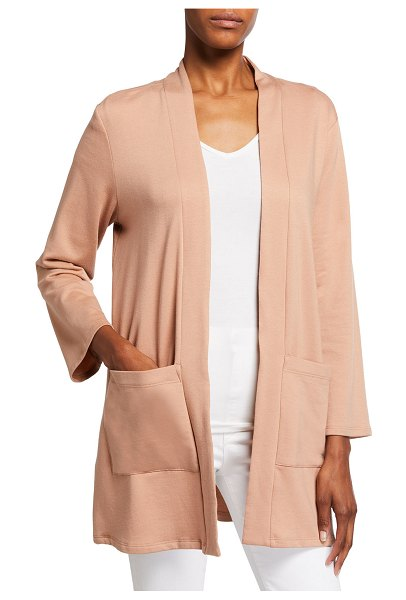 Eileen Fisher Brushed Terry Long Jacket in light terra cotta
