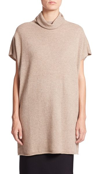 Eileen Fisher Cashmere turtleneck tunic in almond - Luxe cashmere enhances a relaxed short-sleeve knit...