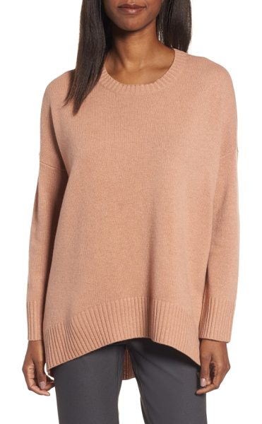 Eileen Fisher cashmere & wool blend oversize sweater in amber - A wide band of ribbing accentuates the fluid...
