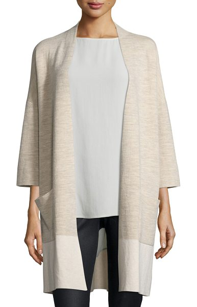 Eileen Fisher Double-Knit Kimono Cardigan in beige