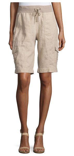 Eileen Fisher Drawstring-Waist Organic Linen Cargo Shorts in natural - Eileen Fisher knee-length cargo shorts in organic linen,...