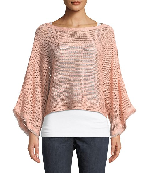 EILEEN FISHER Fringed-Cuff Open-Stitch Linen Box Top - Eileen Fisher box top in open stitch. Bateau neckline. Long...