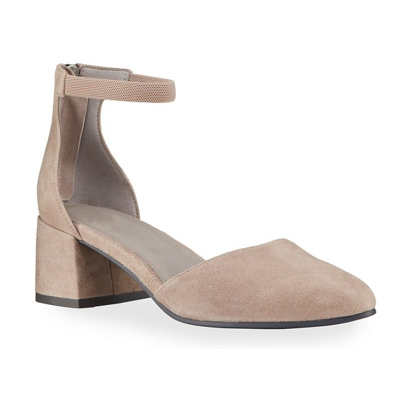 Eileen Fisher Goldie Suede Ankle Zip Pumps in taupe