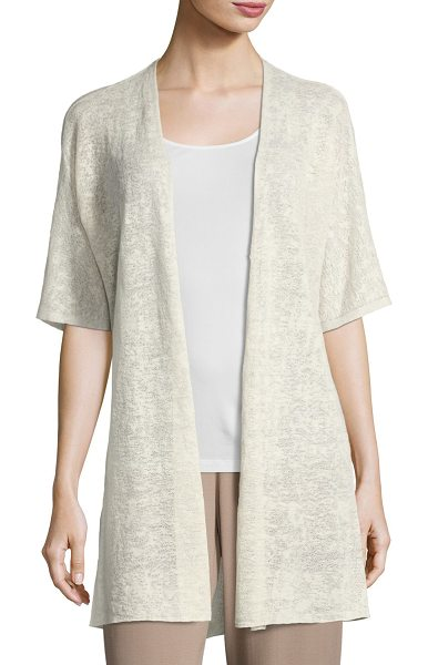 "EILEEN FISHER Half-Sleeve Sheer Long Cardigan - Eileen Fisher sheer hemp-blend cardigan. Approx. 33""L..."