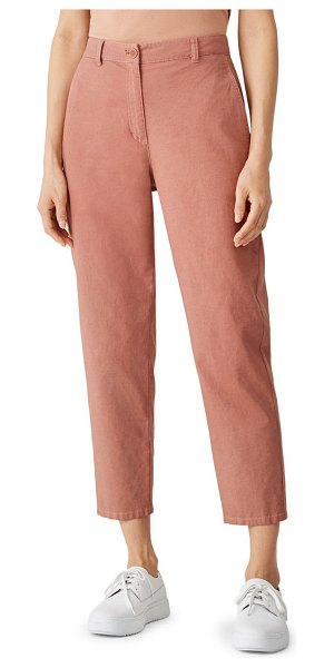 Eileen Fisher high-waist tapered ankle pants in clay