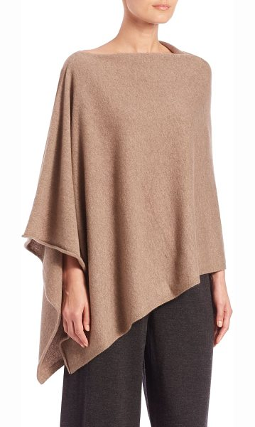 Eileen Fisher Italian cashmere poncho in almond - Chic essential in Italian cashmereBoatneckSide...